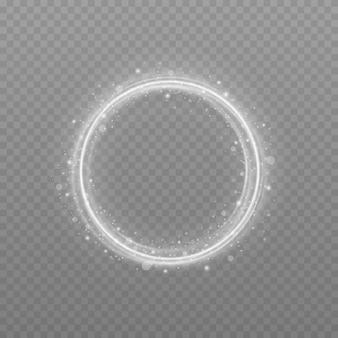 キラキラ光効果のある白いサークルフレームシルバーフラッシュが発光リングで円を描くように飛ぶ