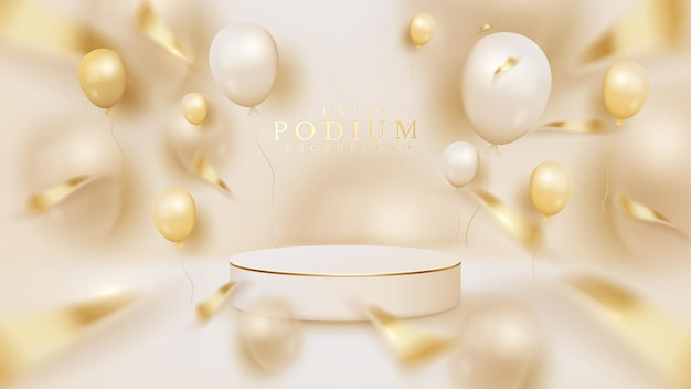 White circle podium background with balloons and ribbon elements, 3d realistic luxury style