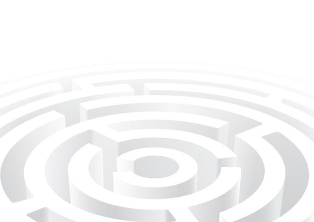 白い円形の迷路3dの視点の背景 Premiumベクター