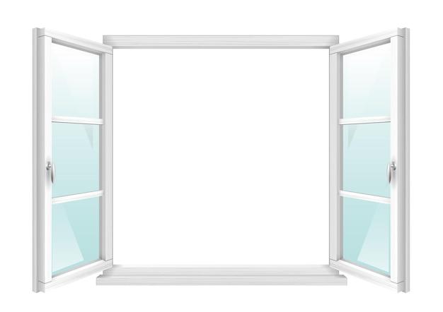 透明なガラスと白い古典的な木製の開いた窓。ベクトルグラフィックス