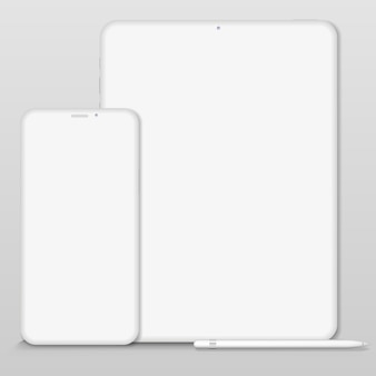 White clay render digital tablet   isolated on white background. origami paper material template with realistic drop shadow.