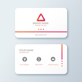 White clean business card with gradient logo