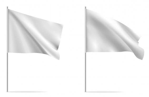 White clean horizontal waving template flag, isolated on background.  flag mockup.