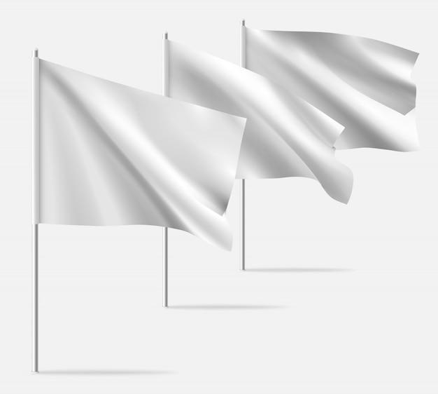 白いきれいな水平手を振っているテンプレートフラグ。