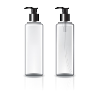 White and clear square cosmetic bottle with black pump head.
