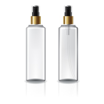 White and clear square cosmetic bottle with gold spray head.