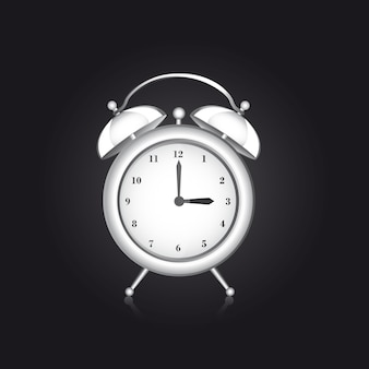 White clock alarm over black background vector illustration