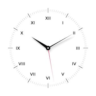 검은 색과 빨간색 포인터와 흰색 시계 얼굴. 로마 숫자