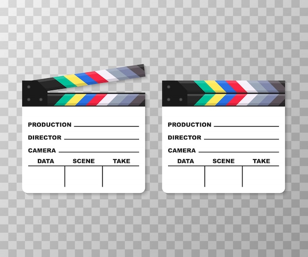White closed clapperboard. realistic vector illustration