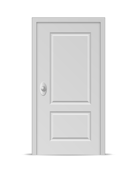 White closed door isolated