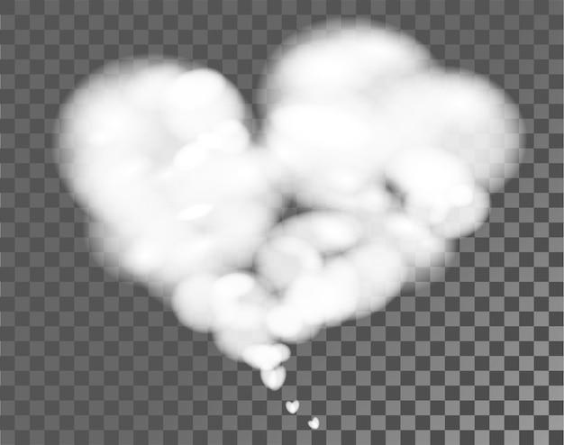 Белое облако формы сердца на прозрачном фоне. изолированные