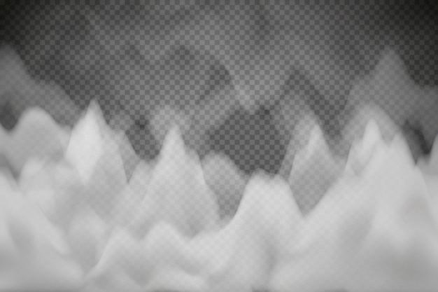 Белая облачность, туман или дым на темном клетчатом фоне.