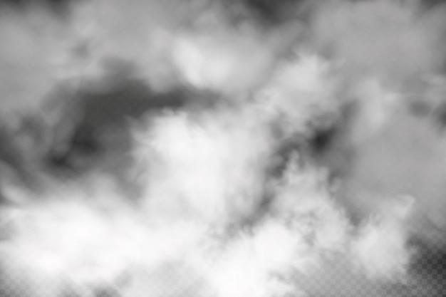暗い市松模様の背景に白い曇り霧または煙