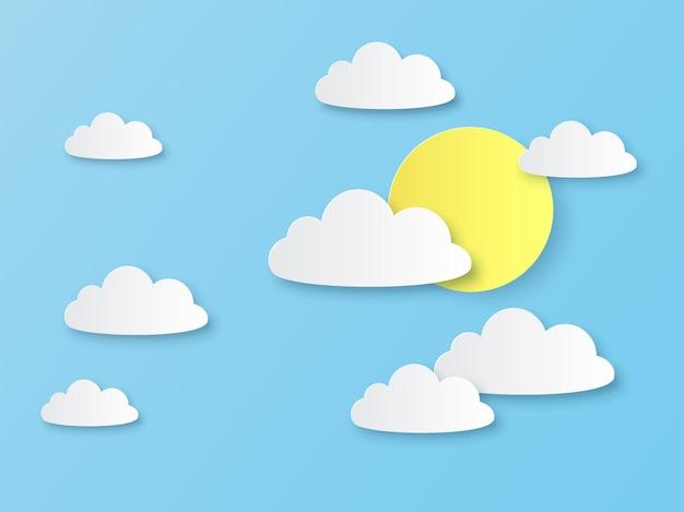 青い天国の白い雲と太陽