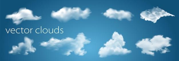 あなたのデザインのための透明な青い背景ベクトルイラストに分離された白い雲。明るい空と雲景の天気