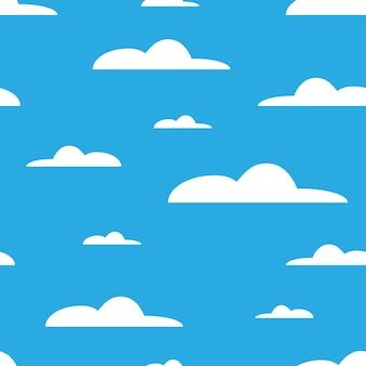 青い背景の上の白い雲空のシームレスパターンベクトルイラストeps10