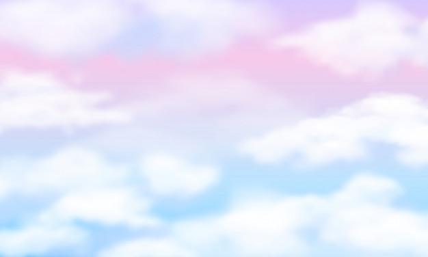 Белые облака на волшебном небе радуги