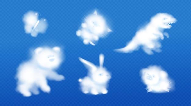 White clouds in shape of cute animals in blue sky