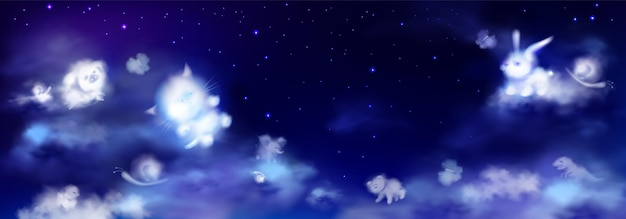 White clouds in shape of cute animals on night sky with stars