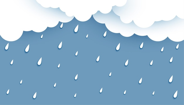 White clouds with rainfall background Free Vector