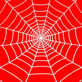 White cobweb on red background. spider web. vector