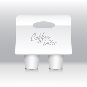 White coffee cup carton holder . cardboard coffee cup holder takeaway