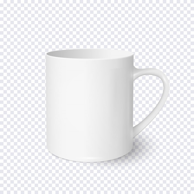 White coffee cup realistic isolated on transparent background