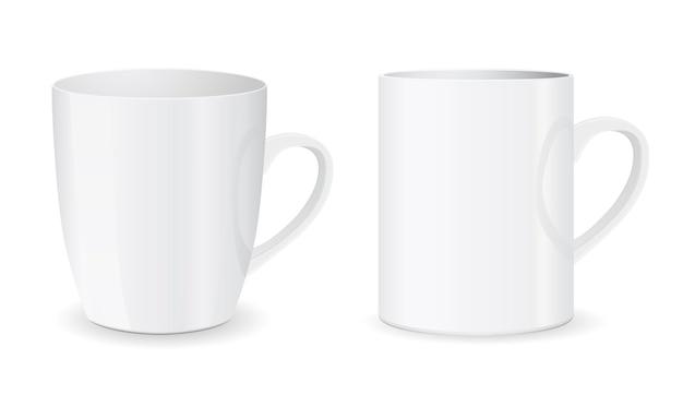 흰색 배경에 고립 된 화이트 커피 잔 컵 아이콘
