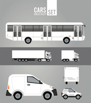 White color mockup group cars vehicles