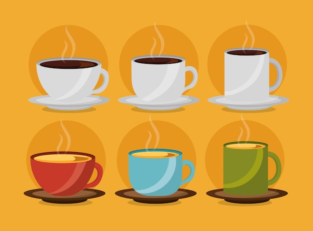 White and colored coffee and tea cups collection