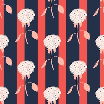 White colored decorative hydrangea flower silhouettes print. pink and navy blue striped background. vector illustration for seasonal textile prints, fabric, banners, backdrops and wallpapers.