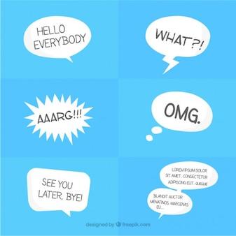 White comic speech balloons