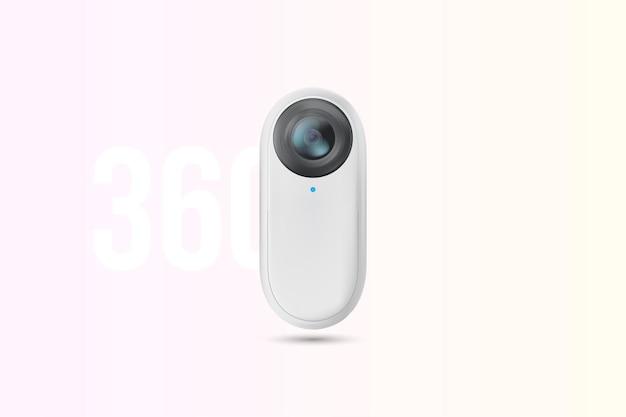 가상 현실을위한 백색 소형 360도 액션 카메라.