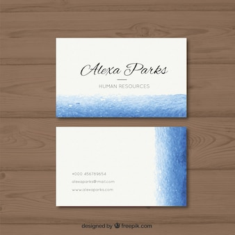 White company card with a blue band