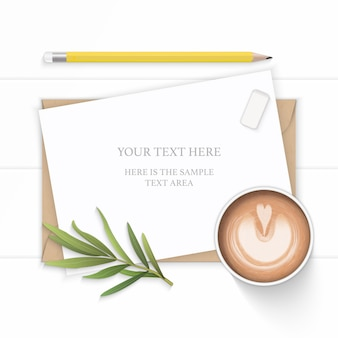 White composition paper with coffee and tarragon leaf on wooden background