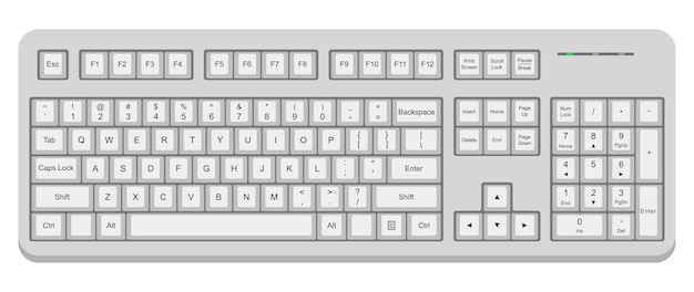 White computer qwerty keyboard. simple flat vector illustration isolated on white background