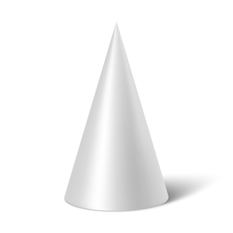 White cone with shadow.  illustration.