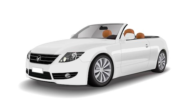 흰색 벡터에 고립 된 흰색 컨버터블 자동차