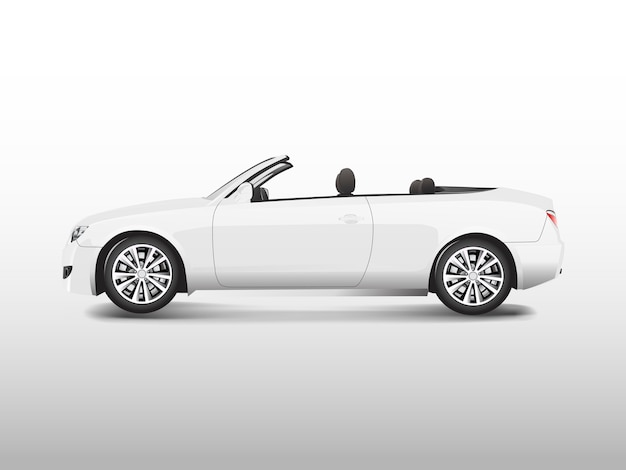White convertible car isolated on white vector