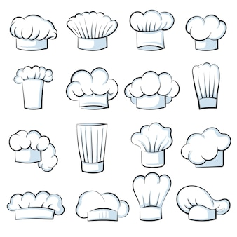 White cook hat. chef cap drawing clothes cooking symbols vector illustration set isolated. chef cap fabric wear, white logo cap for kitchen job