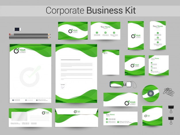 White corporate identity with green waves.