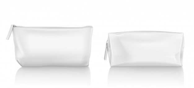 White cosmetic bag with zipper for makeup