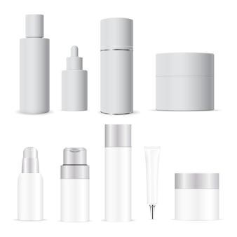 白い化粧品ボトル。クリーム、ローションチューブブランク。シャンプーパッケージ。液体石鹸ポンプディスペンサーパッケージ。化粧品ボトルセット。美容液スポイト、スパバーム、バス衛生、スキンケア