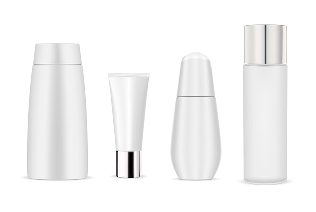 White cosmetic bottle mockup pack. bottle, tube