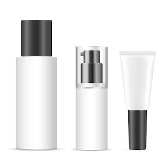 白い化粧品ボトル。パッケージブランク、プラスチックスプレー容器の設計。