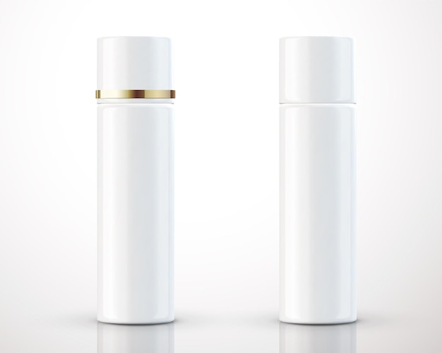 White cosmetic bottles package isolated on background in 3d illustration