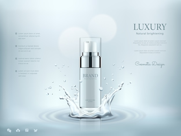 White cosmetic bottles with water splashing background