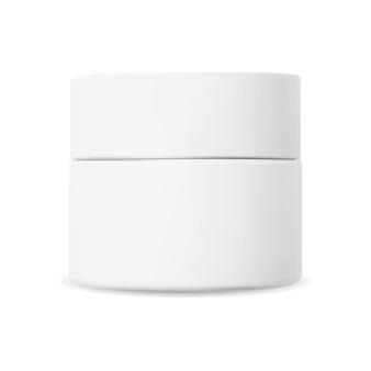 흰색 화장품 크림 항아리입니다. 플라스틱 크림 용기 프리미엄 벡터