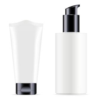 白い化粧クリームチューブ、ポンプボトルブランク。リアルな光沢化粧品パッケージ3d