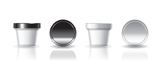White cosmetic or food round cup with black and white lid for beauty, healthy or food product.
